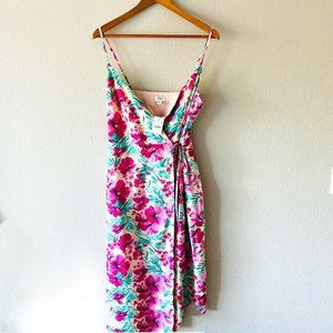 J Crew NWT Pink Floral Strapless Dress Tied Wrap